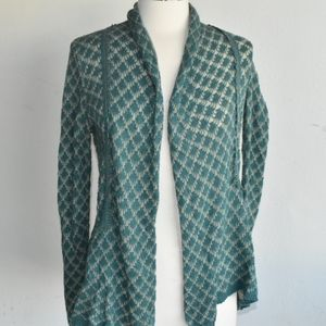 Anthropologie green knitted and knotted open cardi